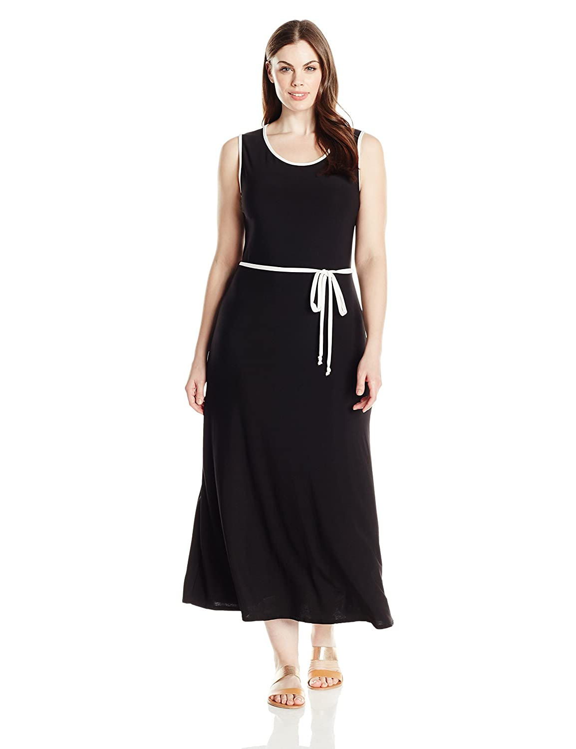 Star Vixen Women's Plus-Size Sleeveless Round Neck Maxi Dress with Color Piping 3729-ITX