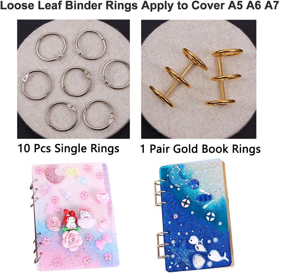 nappe per gioielli fai da te Stampi in resina per quaderni A5 A6 stampo in silicone per segnalibri in resina e 5 stampi per gioielli con 12 anelli bastoncini di legno A7 contagocce