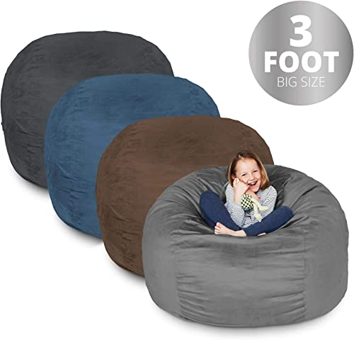 Lumaland Bean Bag Chair 3 Foot Brown Microsuede Cover Machine Washable Big Size Sofa and Giant Lounger Furniture for Kids Teens and Adults