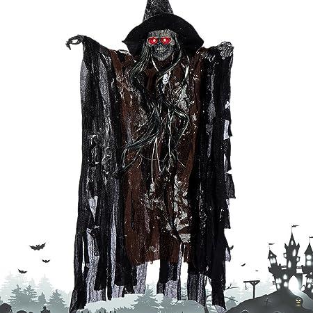 Amazon De Elfisheu Halloween Deko Gruselig Zombie Geist Gespenst Hangend Augen Glanzend Sound