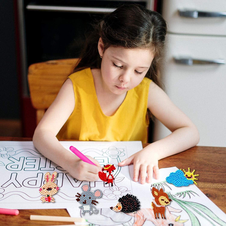 HLAA 38 Pcs Diamond Painting Stickers for Kids 5D Diamond Art Kits for Children Handmade DIY Diamond Painting Kits Cute Animals Car Diamond Mosaics Stickers for Kids