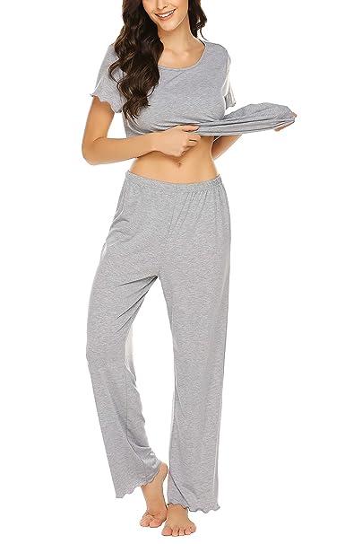 newest collection 61182 75938 Unibelle Damen Einfarbige Schlafanzug Pyjama Set, Zweiteiliger Modal  Kurzarm Nachtwäsche Nachthemd Hausanzug S-XXL