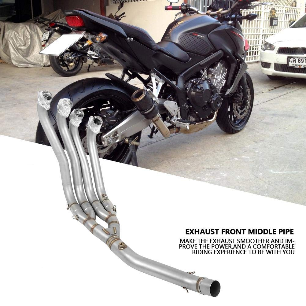 4-2 piezas modificadas de la motocicleta 14-18 secci/ón delantera del tubo de escape de acero inoxidable CB650F Duokon 51mm tubo de escape delantero de la motocicleta