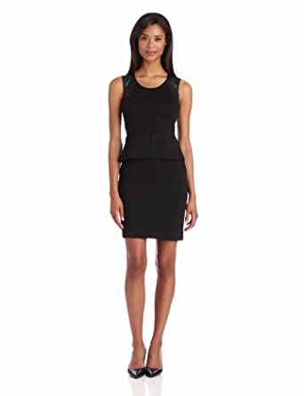 Calvin Klein Women's Sheath Dress With Peplum, Black, 6