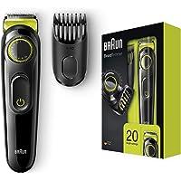 Braun BeardTrimmer BT3021 Beard Trimmer and Hair Clipper, Lifetime Sharp Blades, Black/Volt Green