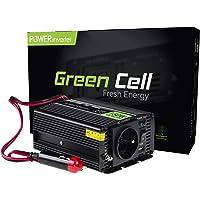 Green Cell® 150W/300W Onda sinusoidal modificada Inversor de Corriente Power Inverter DC 12V AC 220V, Transformador de Voltaje para Coche con Puerto USB y Pinzas de conexión a batería