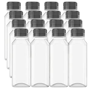 HNXAZG 13.5 Oz Plastic Juice Bottles with Lids, Empty Clear Containers for Juice, Milk and Other Beverage, 16 Pcs.