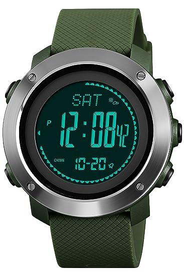 Reloj de pulsera digital para hombre, alarma, barómetro, brújula, relojes electrónicos, podómetro, contador de calorías: Amazon.es: Relojes