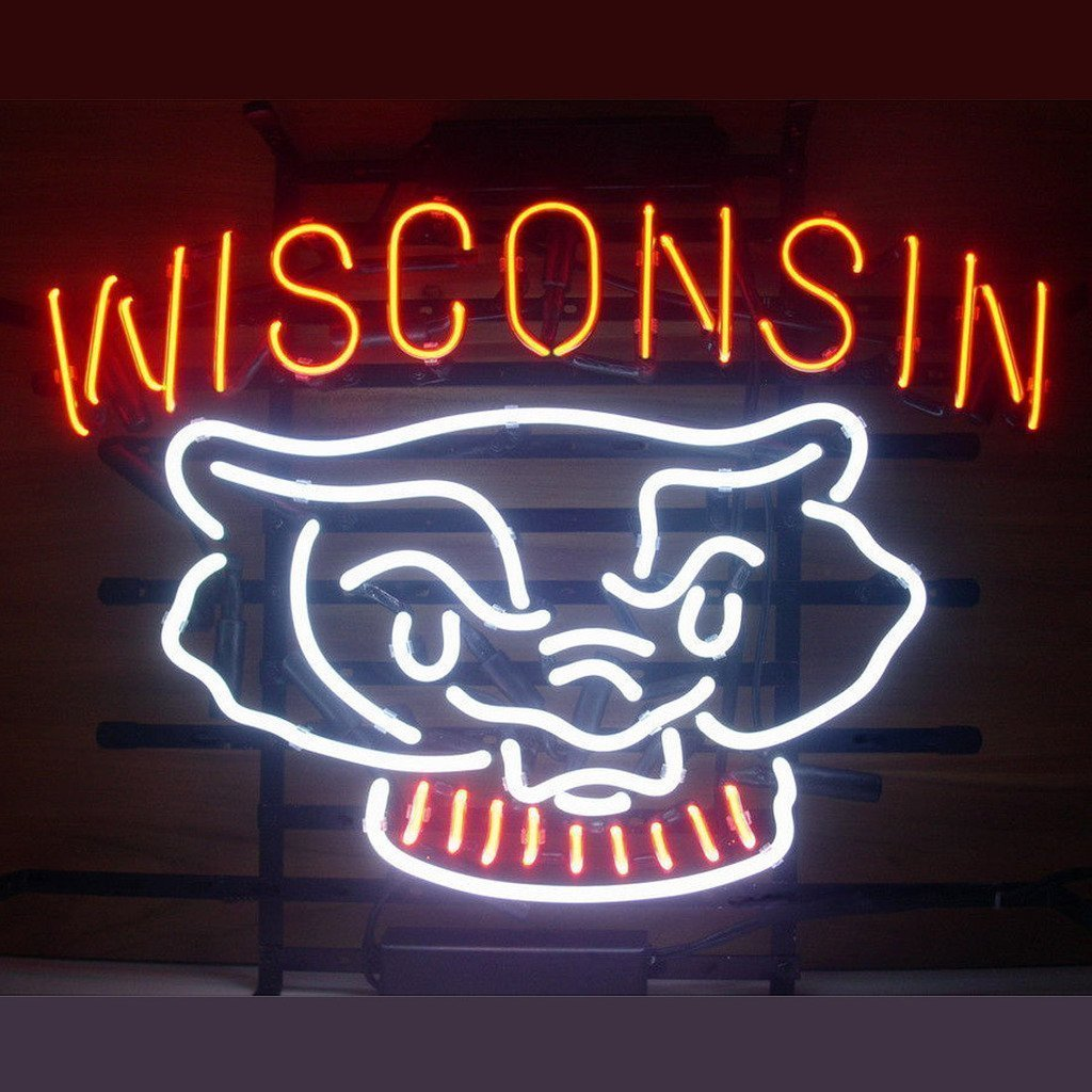 Urby™ Wisconsin Badgers Neon Sign Neon Light Beer Bar Pub Recreation Room Windows Wall Sign Display Signboards 18