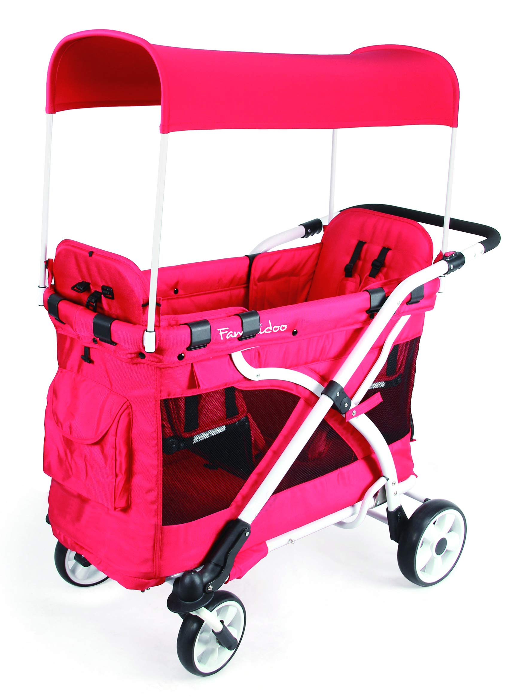 Familidoo Multi-Purpose 6 in 1 Large Twin Size Toddler Baby Folding Stroller Chariot Wagon, Red by FAMILIDOO (Image #5)