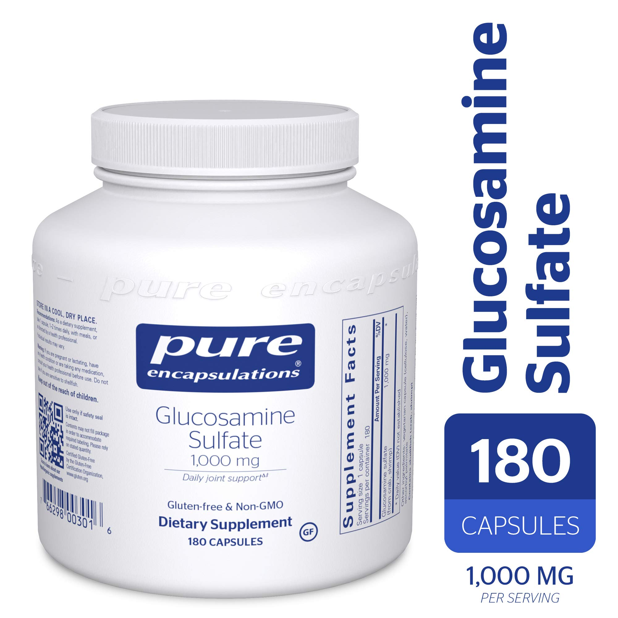 Pure Encapsulations - Glucosamine Sulfate 1000 mg - Dietary Supplement Supports Healthy Cartilage and Joint Function* - 180 Capsules
