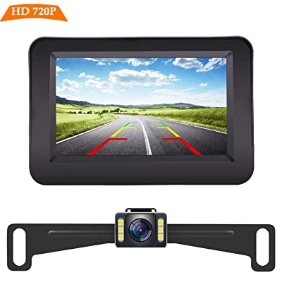 Yakry Y11 HD 720P Backup Camera and Monitor Kit 4.3 Inch Monitor Hitch Rear View License Plate Camera One Power Front View Camera For Cars,Vans,Trucks IP69 Waterproof Super Night Vision: Car Electronics