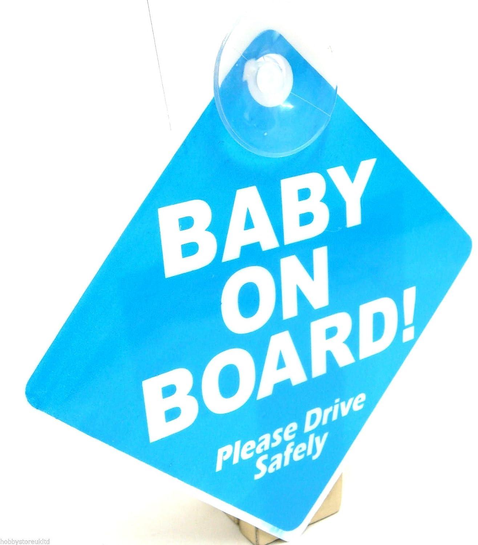 Panneau sécurité avec ventouse pour véhicule Baby on Board (en anglais) Bleu Hobby Art & Crafts