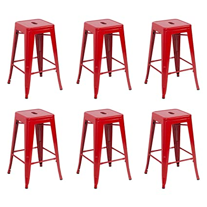 Amazoncom Belleze 6 Piece Metal Bar Stool Industrial Stackable 26