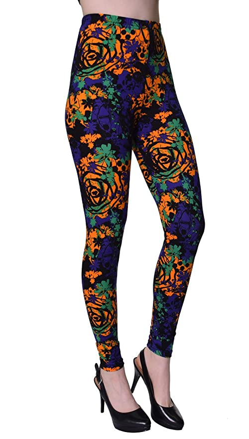 68b14cfb9a6a0 VIV Collection Popular Printed Brushed Buttery Soft Leggings Regular Plus  40+ Designs List 2 at Amazon Women's Clothing store: