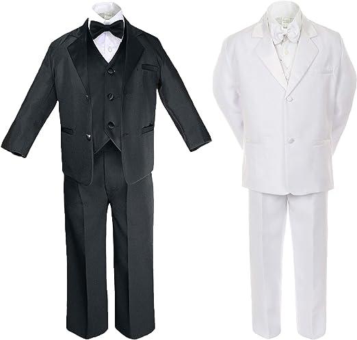 2T-20 New Children Formal Tuxedo bowtie 5-PC Dress Suit Set White sizes S-XL