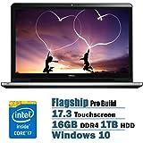 Dell Inspiron 17.3 inch Flagship Premium Full HD Laptop PC, Intel i7-6500U Dual-Core, 16GB DDR4, 1TB HDD, DVD RW, Backlit Keyboard, Touchscreen, Waves MaxxAudio Pro, Windows 10, Silver