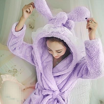 POKWAI Cute Pijamas Mujer / Niñas Invierno Más Grueso Con Capucha Cálido Dulce Estudiante Albornoz Pijama