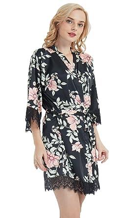 2dbfec3ba2ecc Floral Silk Kimono Robe for Bridesmaids Wedding Party Getting Ready  Black/Small