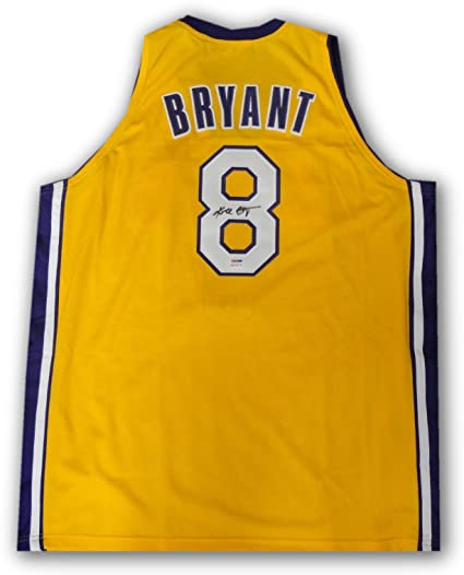 Kobe Bryant Hand Signed Auto  8 Yellow Jersey Los Angeles Lakers PSA DNA COA a96099539
