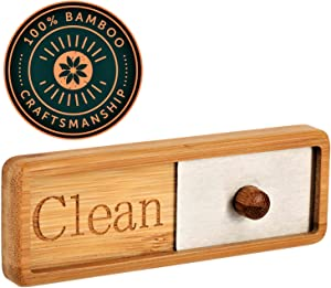 TEYGA Bamboo Dishwasher Magnet - Unique Clean / Dirty Shutter Sign with Brushed Stainless Steel Gliding Window - Position on Dishwashing Machine with No-Scratch Strong Magnets or 2-Sided Tape Included