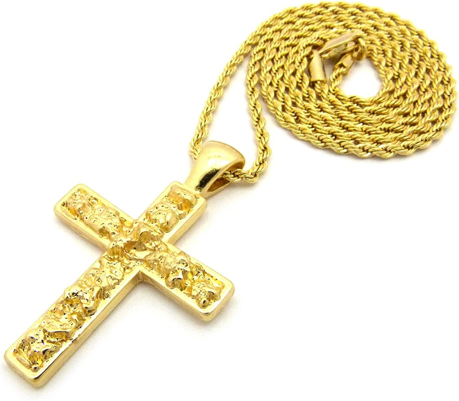 Polished Nugget Cross Pendant w// 2mm 24 Rope Chain Necklace in Gold-Tone