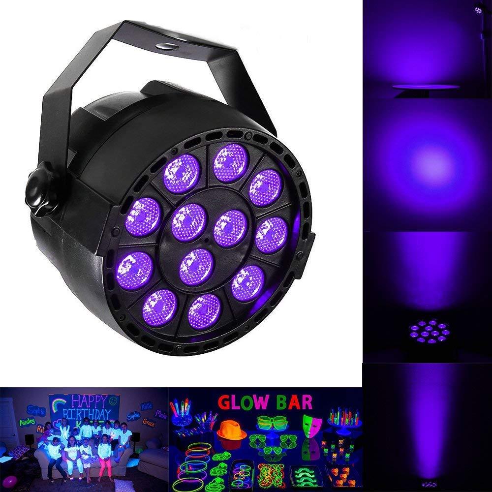 Black Lights, 36W UV LED Bar PAR Light for School Disco Christmas Halloween Party, Neon Glow Stage Light