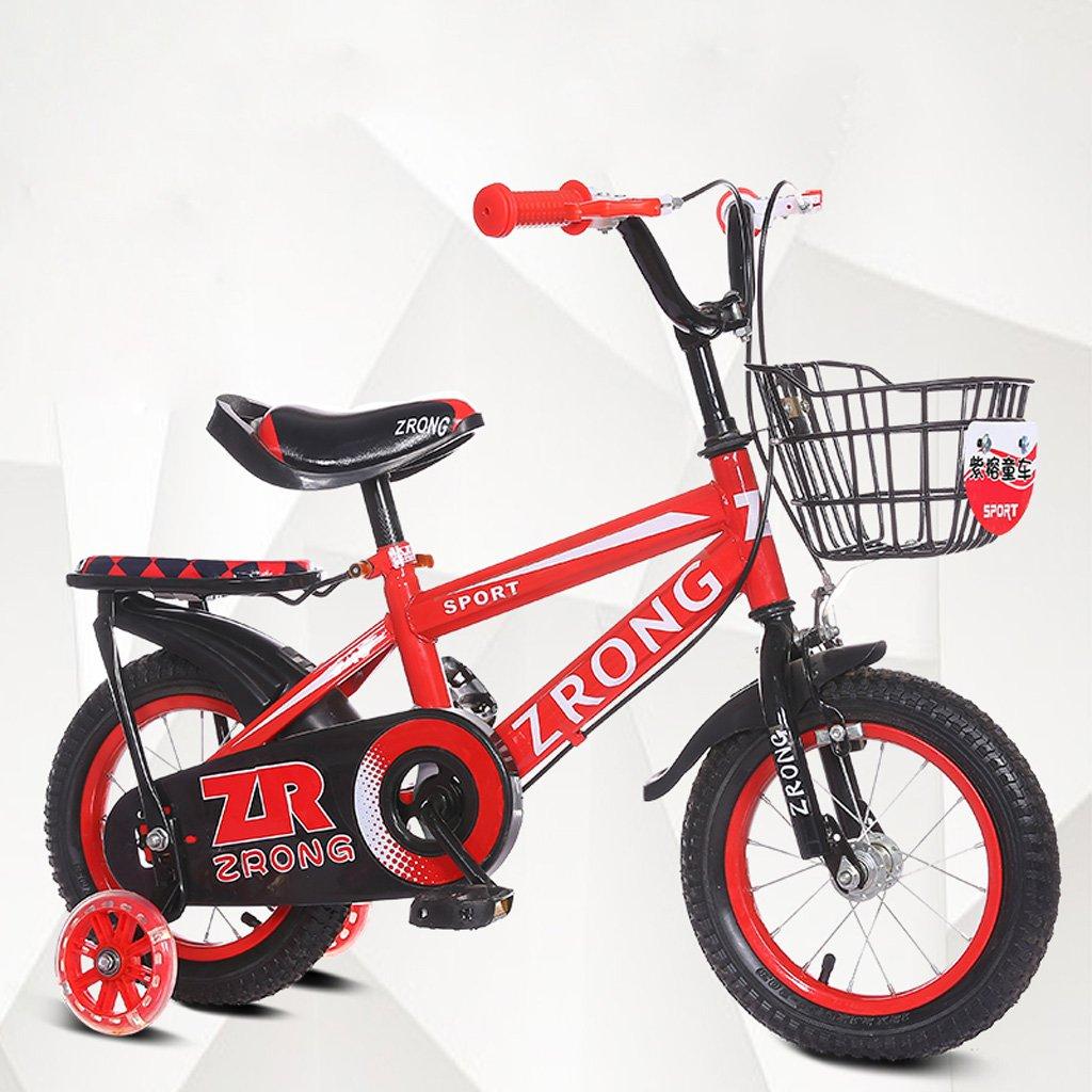子供用自転車14インチキッズバイク3-5歳のベビーバイク高炭素スチールベビーカー、赤/青/緑 (Color : Red) B07CXRB5DG