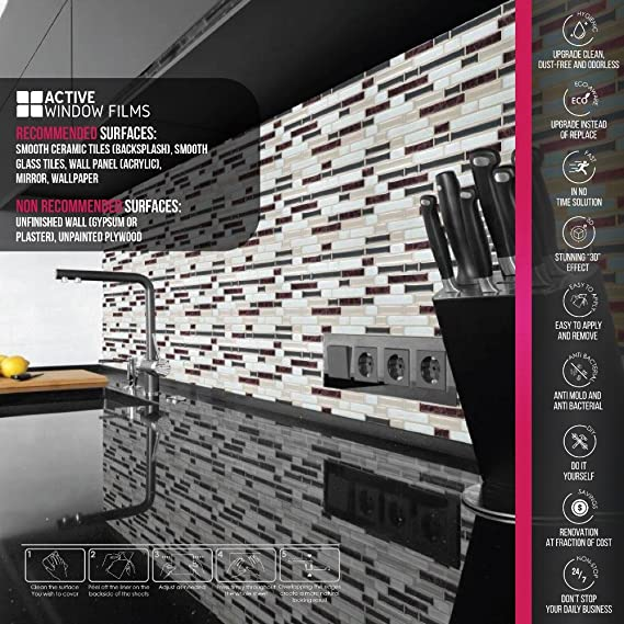 Luxury 3D effect, Self Adhesive Gel Mosaic Tile, Wall Transfer ...