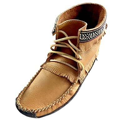 Laurentian Chief Mens Fringe and Braid Apache Earthing Grouding Moosehide Cork Brown with Leather Sole Moccasins