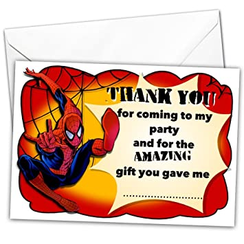 Pack Of 20 Thank You Cards Inspired By Spiderman Glossy With 20 X