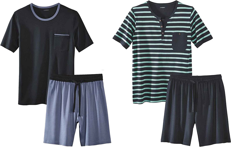Schlafanzug Livergy/® Herren Pyjama//Shorty 2-Teiler