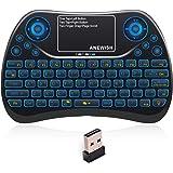 Anewish ミニ キーボード USB ワイヤレス キーボード 無線 小型 2.4GHz 7色自由変更リモーコンAndroid TV Box,PC,HTPC,Tablet,Smart TV,Projector等対応 テレビ DVBボックス IPTVボックス