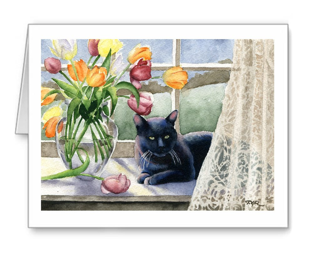 Black Cat With Tulips - Set of 10 Black Cat Note Cards With Envelopes
