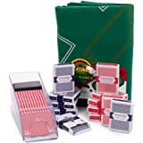 Blackjack Essentials Set – Includes Green Blackjack Tabletop Felt Mat, Blackjack Dealer Shoe + Discard Tray & 12 Decks…
