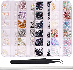 WOKOTO 4 Box Nail Rhinestones And Charms Kit Black Mix-Shape Ab Rhinestones Flat Back Mix-Shape Nail Jewels Clear Crystals Colorful Pearls With Tweezers And Picker Pencil