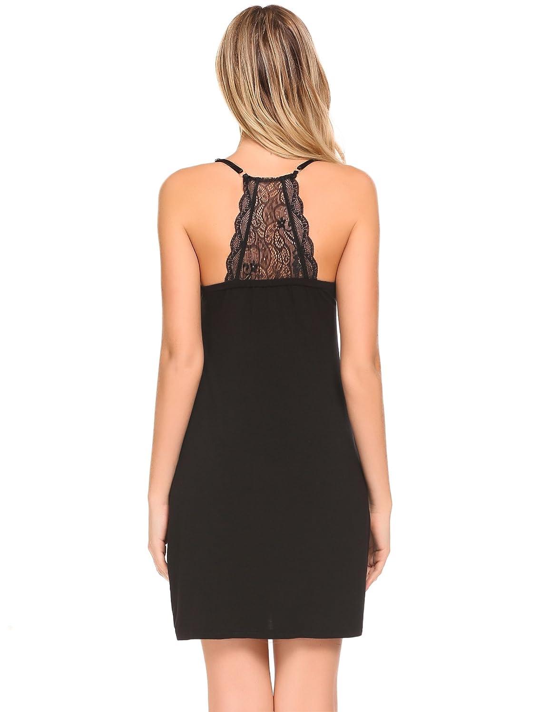 9c8c671b9c MAXMODA Womens Chemise Sleepwear V-Neck Nightgown Full Slip Lace Lounge  Dress