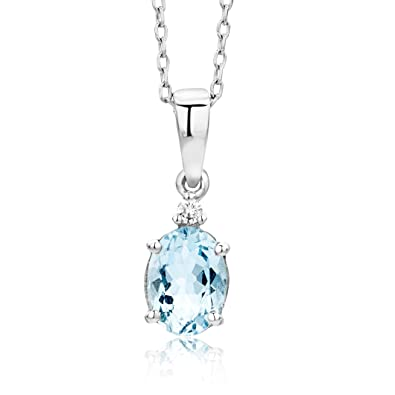 Miore necklace pendant women chain aquamarine with brilliant cut miore necklace pendant women chain aquamarine with brilliant cut diamond white gold 9 kt mozeypictures Image collections