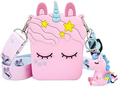 VAMY kids Bolso Unicornio para niñas. Tamaño de bolso: 8 x 4 x 11 cm. Correa de hombro ajustable.