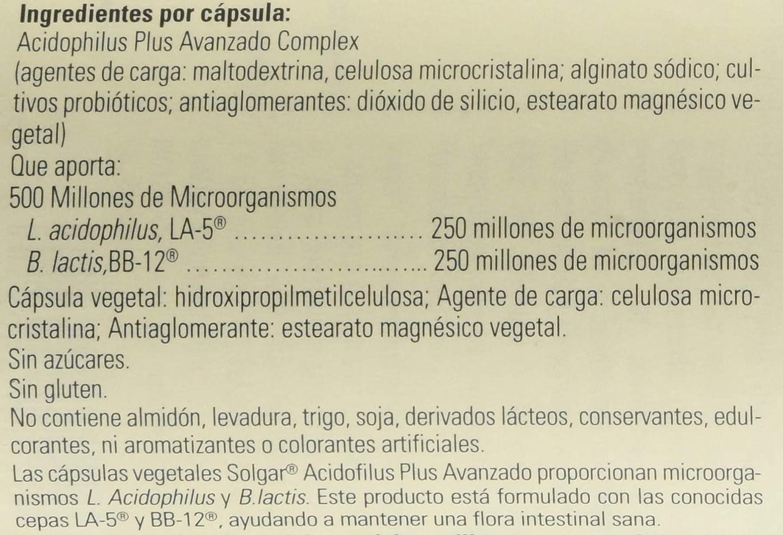 Solgar Acidophilus Plus Avanzado Cápsulas vegetales - Envase de 60