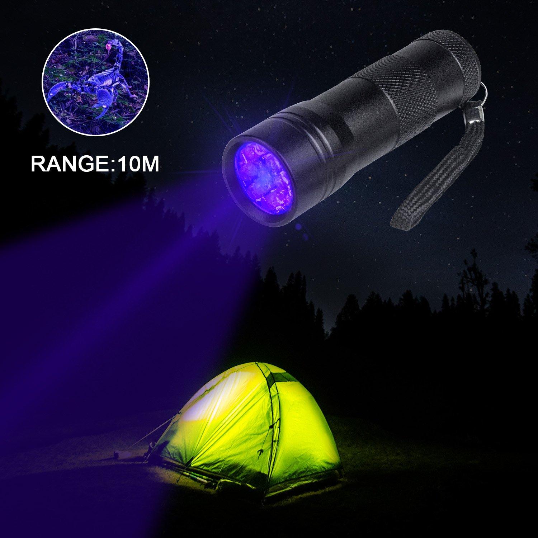 12 LED Ultra Violet Blacklight Detector for Dog Urine Pet Stains and Bed Bug Beinhome 5 Pack UV Flashlight Black Light with Batteries