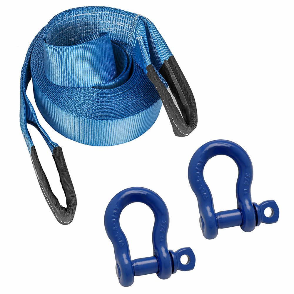 DiversityWrap 7T Tow Strap Heavy Duty Tow Rope Towing Pull Strap Recovery Winch 4x4 Offroad With 2x Shackles Blue 16.4ft 5m