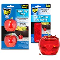 Raid Fruit Fly Trap (2 Pack Bundle) | 2 Lures + 2 Refills | Effective Fly Trap for Indoor Use | Fly Catcher and Gnat…