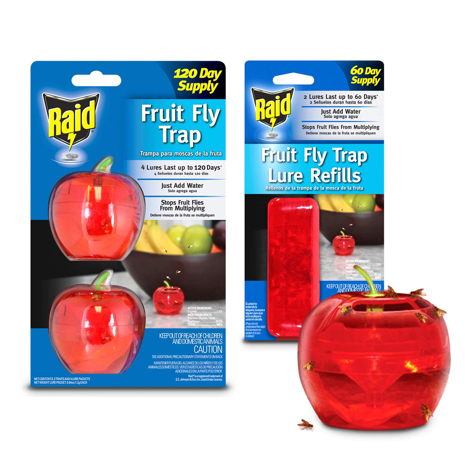 Raid Fruit Fly Trap (2-Pack) + Refill Bundle, 180-day Supply of Fruit Fly Traps, Plastic Fruit Fly Catcher, Reusable Gnat Trap, Non Toxic Insect Killer Traps w/Bonus Food-Based Fruit Fly Lure Refills by Raid