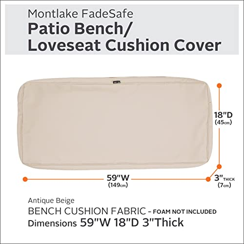 Classic Accessories Montlake Water-Resistant 59 x 18 x 3 Inch Patio Bench/Settee Cushion Slip Cover