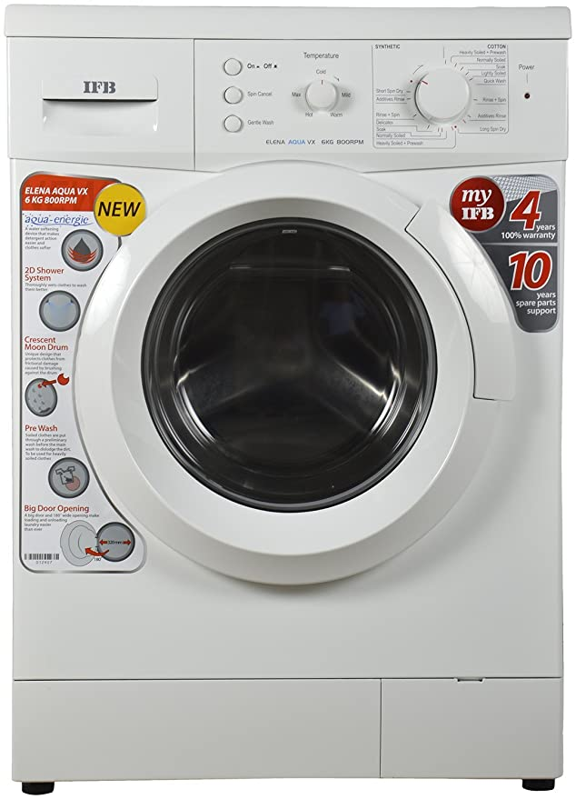 ifb 6 kg fully-automatic front loading washing machine (elena aqua vx,  white, inbuilt heater): amazon in: home & kitchen