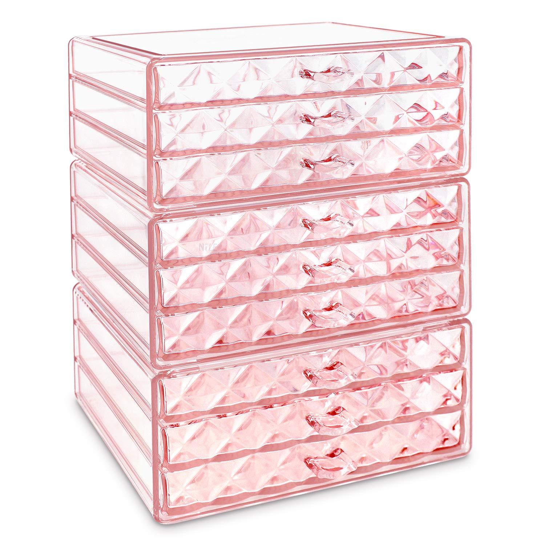 Makeup Cosmetic Organizer Cosmetics Organizers Storage Drawers – 3 Pieces Set, Diamond Pattern 9 Drawers