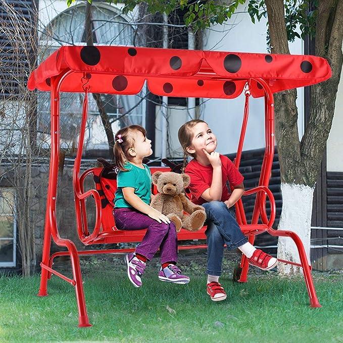 COSTWAY Balancín de Niños con Patrón de Mariquita y Cinturon de Seguridad Infantil Columpio para Jardín Patio Exterior Taburete con Techo: Amazon.es: Jardín