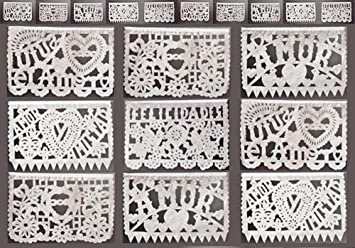 Amazoncom White Wedding Mexican Banner Papel Picado Kitchen
