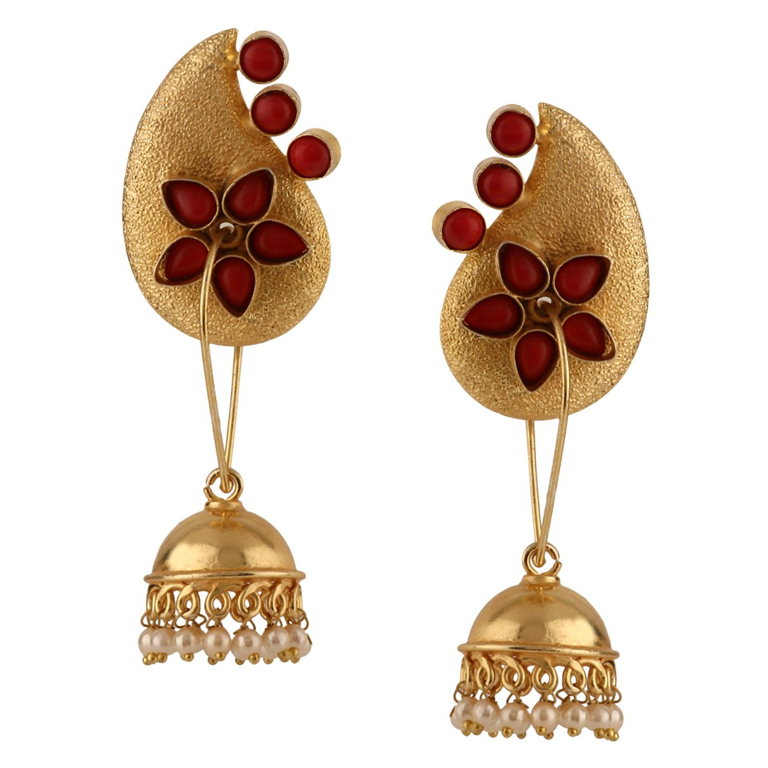 Efulgenz Indian Bollywood 14K Gold Plated Crystal Kundan Pearl Leaf Floral Jhumka Jhumki Earrings Jewelry Set